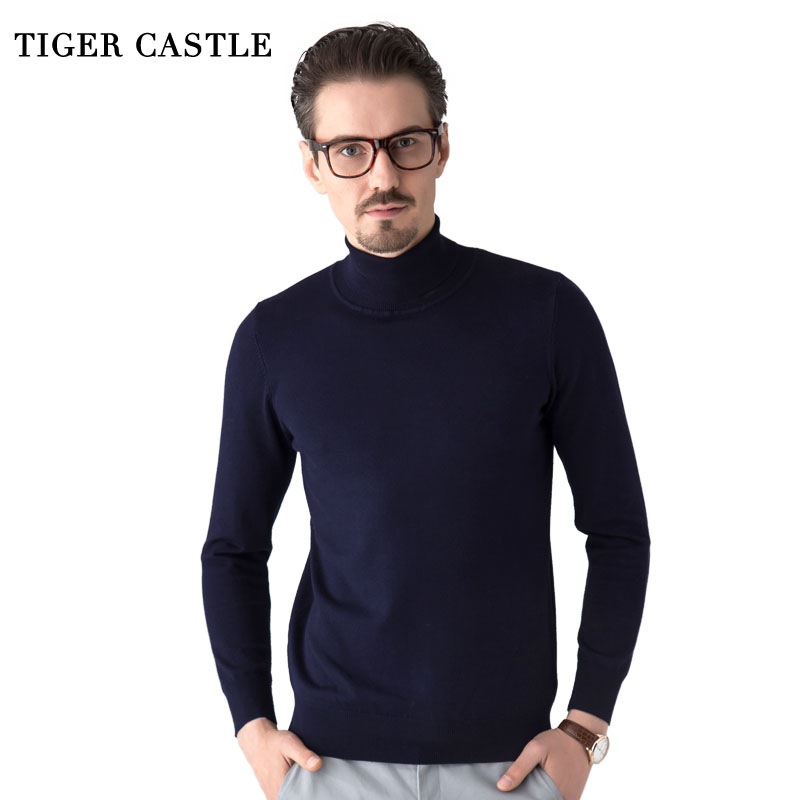 TIGER CASTLE Quality Brand Mens Clothing Fashion Male Turtleneck Autumn Thin Full Length Men Sweaters Hombre