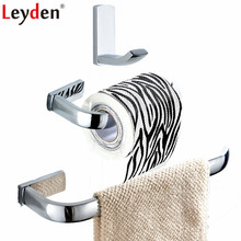 цена Leyden 3pcs Bathroom Accessories Set Chrome Brass Towel Ring Holder Toilet Paper Holder Roll Paper Holder Clothes Towel Hook онлайн в 2017 году