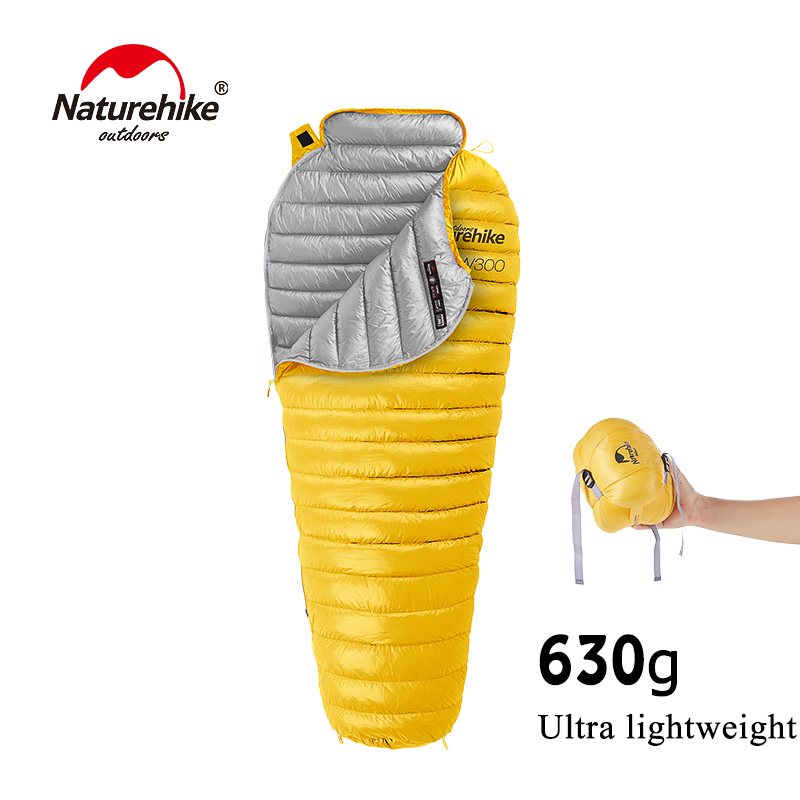 630g Cw300 Ultralight Warm Sleeping Bag White Goose Down Sleeping Bag Adults Backpacking Camping Mummy Sleep Bags Nh18s300-d