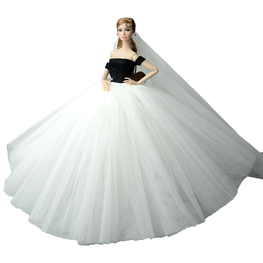 NK Doll Dress High quality Handmade Long Tail Evening Gown Clothes Lace  Wedding Dress +Veil For Barbie Doll Best Gift JJ-in Dolls Accessories from  Toys ... 26e30baaa46d