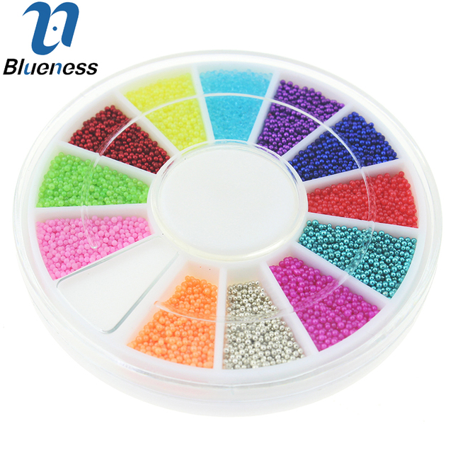 12 Colors Wheel Nail Art Tools Magic Candy Color Design Caviar Beads