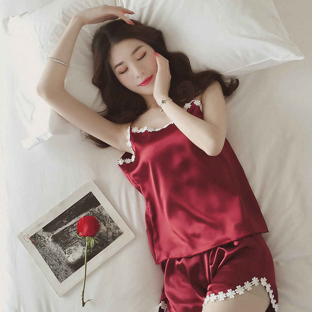 36464a5fc54 Women Sexy Lingerie Lace pajamas set Elegant satin Silk Floral Top and shorts  Nightwear Nightgown Sleepwear