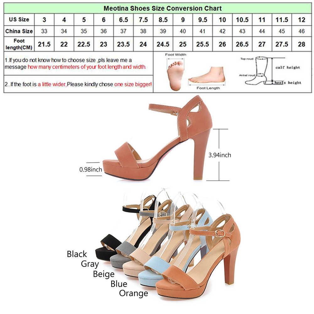 Meotina zapatos de mujer Sandalias de Punta abierta tacones altos tobillo Correa zapatos de verano Sexy tacones altos zapatos de mujer azul naranja grande tamaño tamaño 42 43