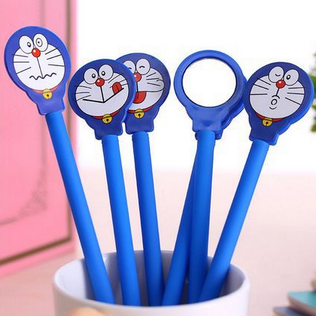 2Pcs/set Kawaii Doraemon Mirror Gel Pens Creative Students Gift School Office Supplies 270
