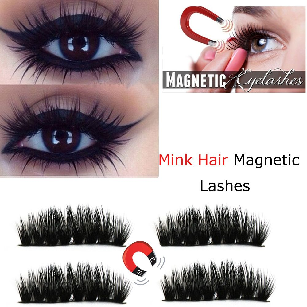 ca07a2f696b 1Pair 3D Pure Mink Hair Magnetic False Eyelashes Double Magnetic No ...