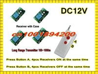 DC12V Remote Control Switch System Press A 4 Receiver ON Press B 4 Receiver OFF Learning Code Latched 315/433.92MHZ Long Range