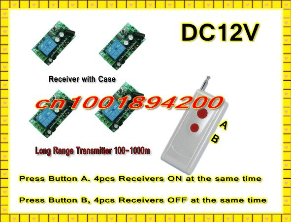 DC12V Remote Control Switch System Press A 4 Receiver ON Press B 4 Receiver OFF Learning Code Latched 315/433.92MHZ Long Range remote control switch led light lamp remote on off system ac85v ac260v 100v 110v 240v 230v 127v learning code receiver 315 433