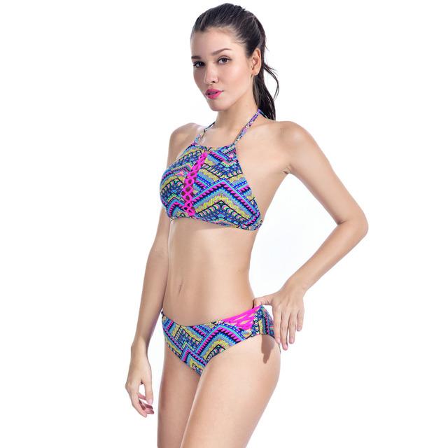 New Women Low Waist Bikinis Set Ethnic Pattern Sexy Slim Two-Piece Swimsuit Straps Crop Halter Swimwear Triangle Bathing Suit