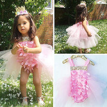 skirt Rompers Flower New Newborn Infant Baby Girl pure Photograph party pink Princess Cute Jumpsuit Outfits Sunsuit Summer