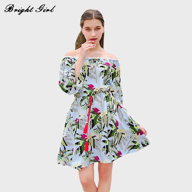 BRIGHT GIRL Women Dress Summer Fashion Floral Print Dresses Lady Clothes Flare Sleeve Chiffon Dress Casual Beach Vestido