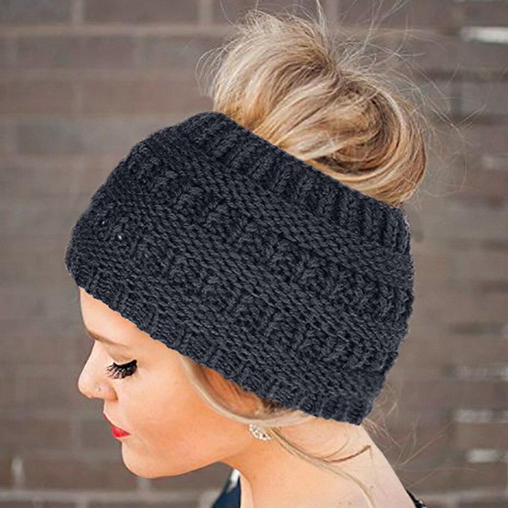 Lavorato a maglia coda di cavallo berretto di lana testa cap all aperto caldo  Delle 53583d2edb3b