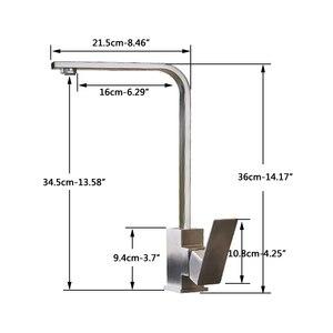 Image 4 - Mitigeur chaud froid, robinet de cuisine en Nickel brossé rotatif à 360 degrés montage sur pont, robinet pour cuisine à levier unique un trou, grue de cuisine salle de bains