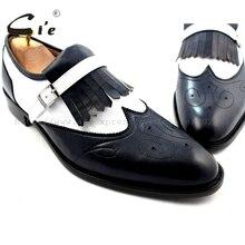 CIE Размер США 6-14 100% натуральной телячьей кожи мужская обувь ручной работы кисточки темно-синий/белый кожаный нижняя подошва слипоны BreathableLoafer19