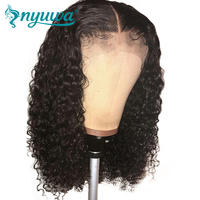 NYUWA Curly Full Lace Human Hair Wigs Pre Plucked Bleached Knots Brazilian Remy Hair Lace Wig With Baby Hair Natural Black color
