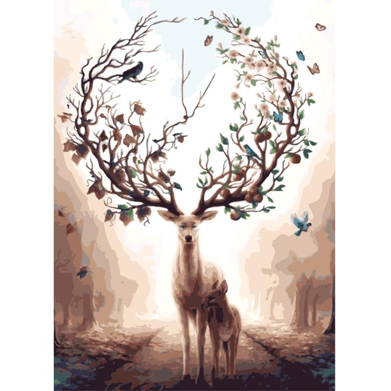Diy Ölgemälde Durch Zahlen Färbung durch zahlen Auf leinwand elch hirsche Tier Hand Malerei nordic dekoration kunst poster geschenk