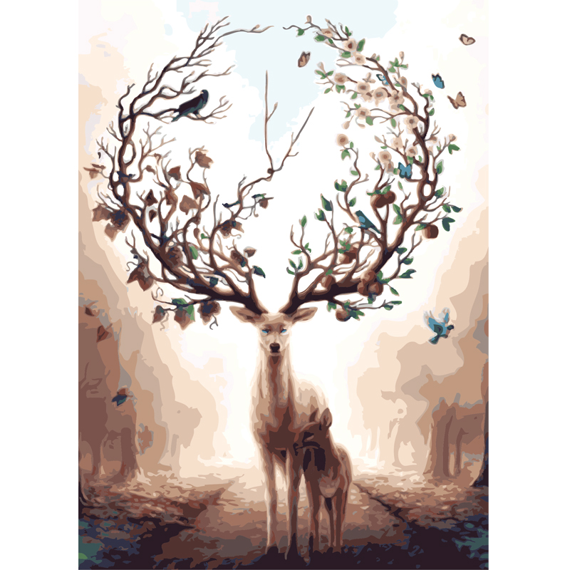 Diy Oil Painting By Numbers Coloring by numbers On canvas elk deer Animal Hand Painting nordic decoration art poster gift