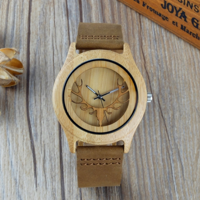 2017 Bamboo Wood Watch Men Women Hollow Deer Genuine Leather Band Strap Nature Wood Bangle Wristwatch Unisex Reloj Hombre Clock fashion nature wood quartz wrist watch genuine leather band bamboo pattern strap men women analog green light grey gift