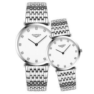 Image 2 - GUANQIN Fashion Couple Watch Set Diamond Luxury Quartz Watch Mens Women Wristwatch lovers Watch Clock Man relogio masculino