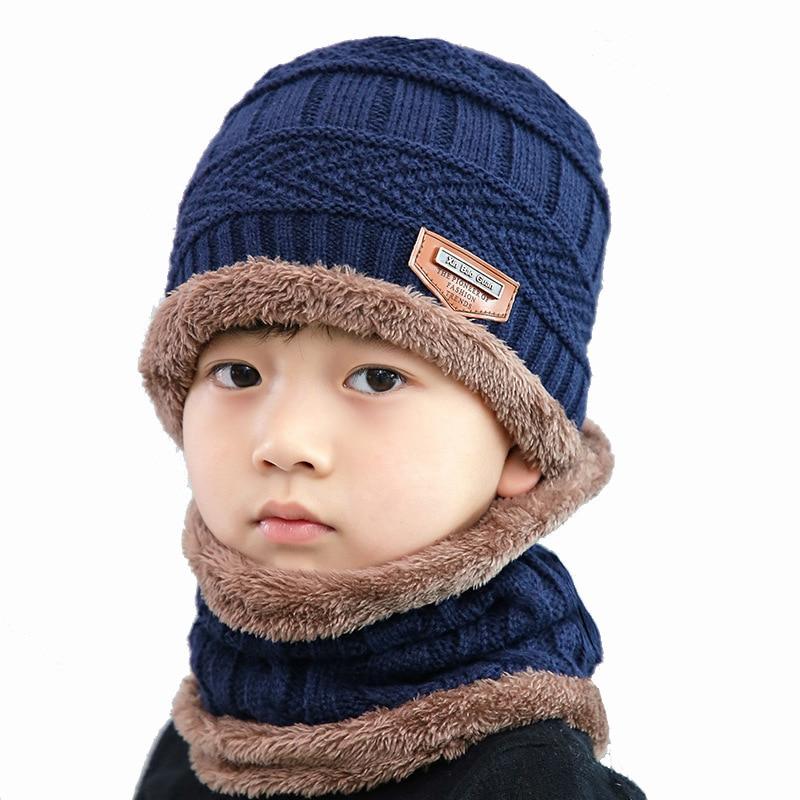 Children Boy Girl Winter Knitted Beanie Hat Scarf Dual Use Kids Warm Ski Cap Hats & Caps