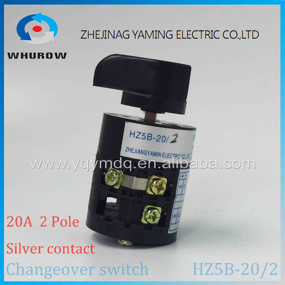 Rotary switch HZ5B-20/2 changeover cam combination switch Ith 20A Ui 500V 50Hz 3 position 2 pole 6 terminal sliver point contact ui 660v ith 20a rotary cam 4 screwed terminals universal changeover switch