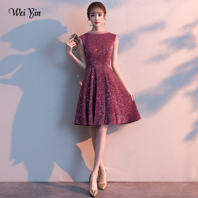Wei Yin Elegant Cocktail Dress O-neck Sleeveless A-line Pattern Illusion Knee-length Party Formal Dresses Robe De Soiree WY1719
