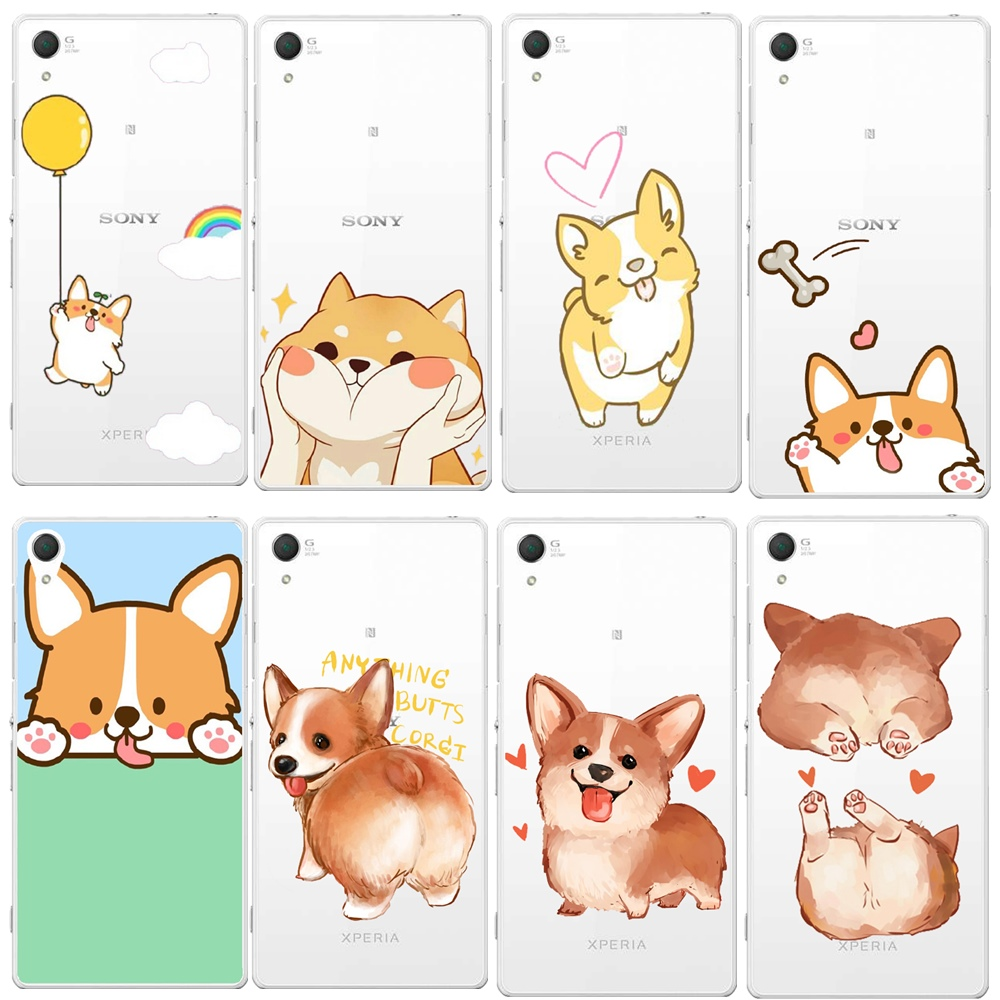 Fitted Cases Dual E6533 So-03g Sexy Cartoon Dog Ass Phone Cover Humor Newest Luxury Transparent Super Cute Corgi Case For Sony Xperia Z4 Z3