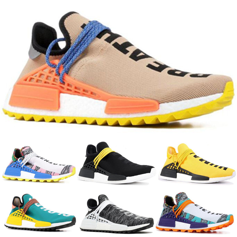 2019 Human Race Mens Running Shoes Pharrell Williams Sample Yellow Core Black Sport Designer Shoes Women Sneakers 36-452019 Human Race Mens Running Shoes Pharrell Williams Sample Yellow Core Black Sport Designer Shoes Women Sneakers 36-45