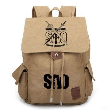 Sword Art Online Bag   Anime Sword Art Online Canvas Backpack For Teenage Boys Girls School Bags SAO Drawstring Bags Women Men Vintage Travel Bag