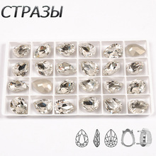 Clear K9 Crystal Glass Sewing Fancy Stone Setting Rivoli Rectangle Pear Drop Shaped Strass Sew On Point back Rhinestone
