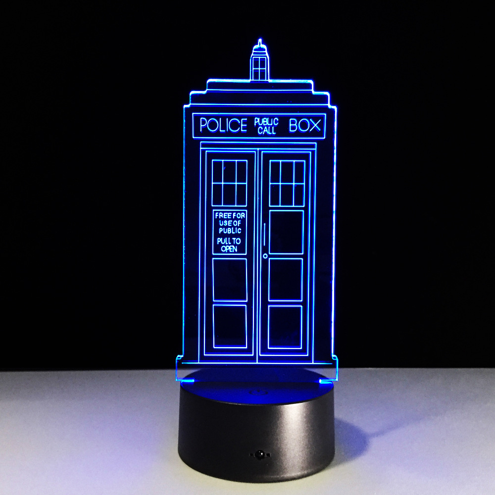 Doctor Who TARDIS 7 Color Changing Visual Illusion LED Lamp Visual Fashion Toy 3D Light Enterprise Action Figure Kids Gift