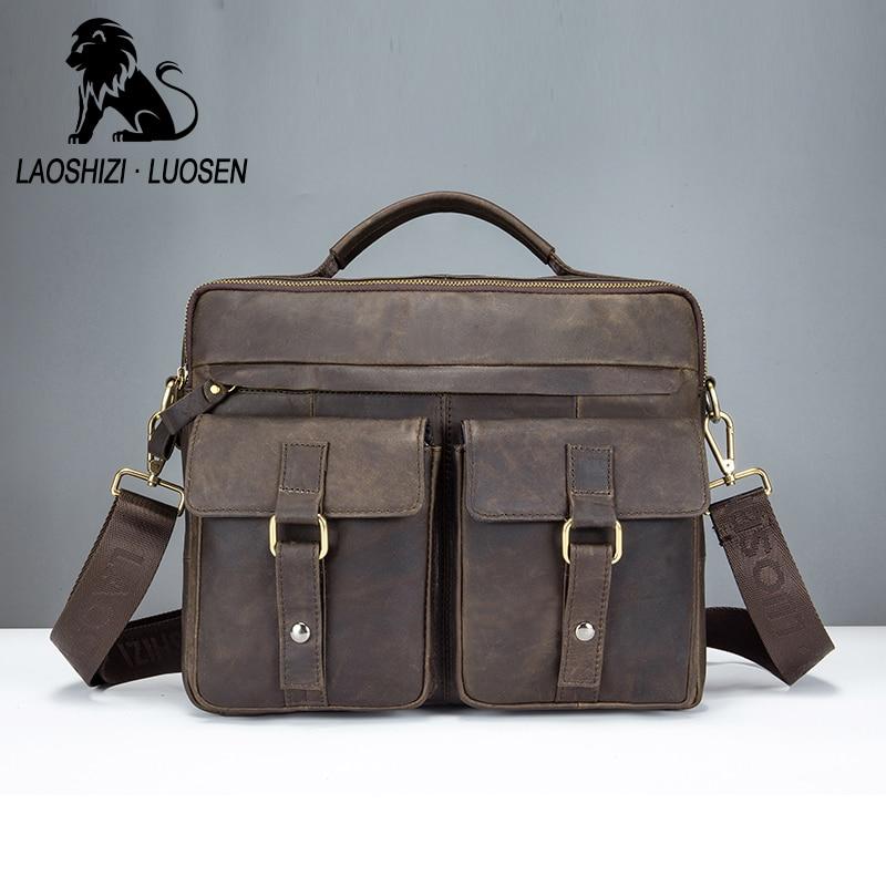 LAOSHIZI LUOSEN en cuir véritable Vintage hommes sac à main affaires décontracté hommes voyage pochette d'ordinateur sacs à bandoulière fourre-tout