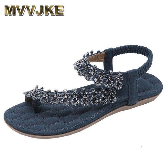 415fcdbc91f9 MVVJKE Fashion Women Bohemia Sandals Girls Flower Rhinestone Flat Sandals  Ladies Outdoor Beach Shoes sandalias zapatos mujer A8