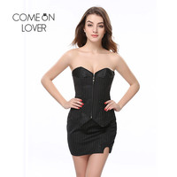 Comeonlover Waist Corset Plus Size Office Lady Pinstripe Corset With Mini Skirt Zipper Slim Steel Boned Corset Bustier AI2826
