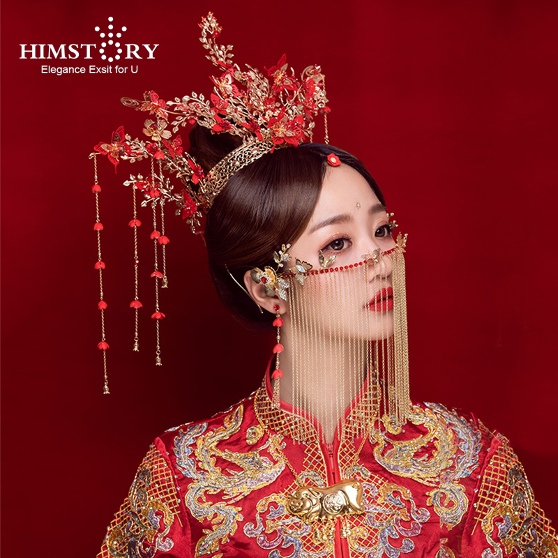 HIMSTORY Crown Bridal Wedding-Hair-Accessories Butterfly Headdress Phoenix Chinese Woman