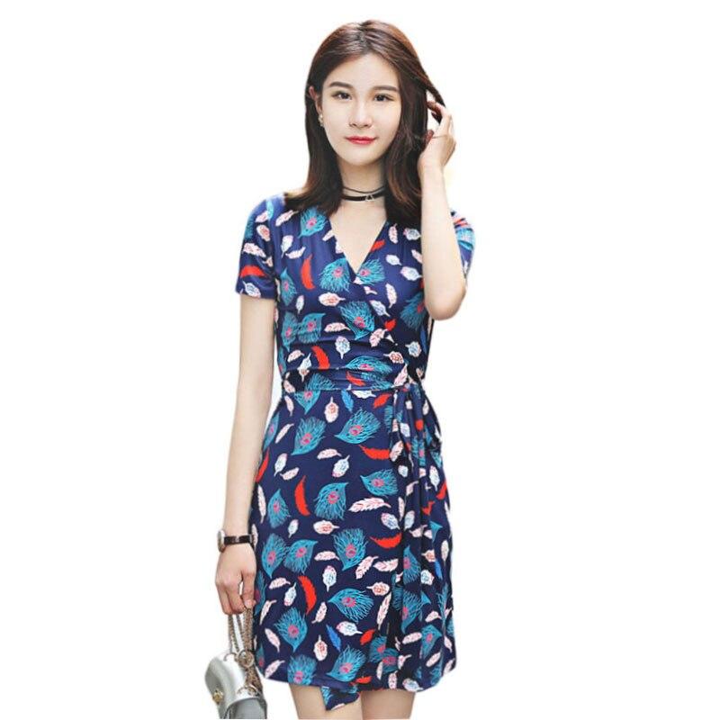 Summer Women V-Neck Short Sleeve Feather Print Wrap Dress Ladies Short Beach Dresses Robe Femme Ete 2018