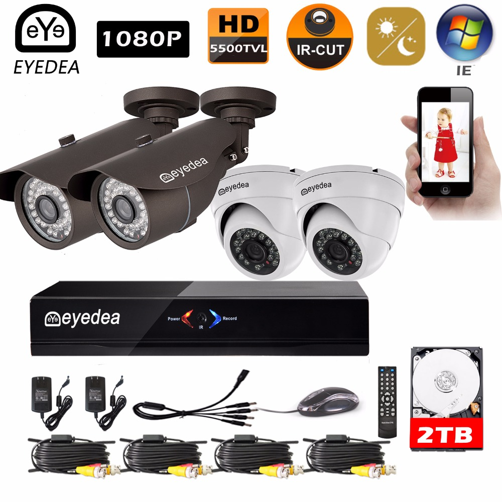 Mother's Day Eyedea Surveillance DVR 8 CH Motion Detect Recorder 1080P Bullet Dome Night Vision CCTV Security Camera System 2TB top quality 800tvl ir night vision waterproof cctv camera with16 channel motion detect camera recorder dvr support h 264 ptz