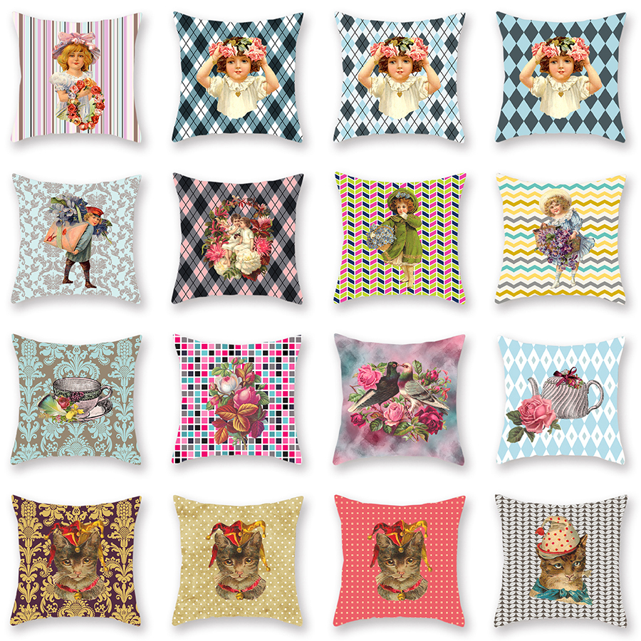 Double Side Print Lattice Dot Decorative Throw Pillow Case Flower Bird Cat Party Home Decor Sofa Car Cushion Cover