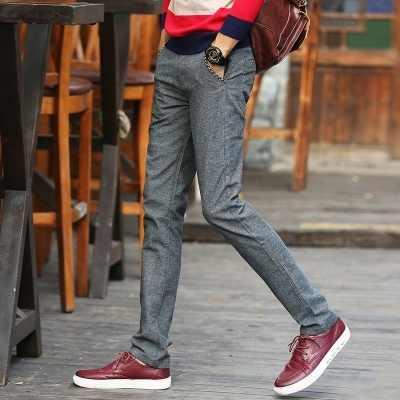 男性パンツ因果 Strainght スリムフィットパンツ韓国スタイルのファッション男性