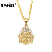 Uwin Chinese God Buddha Bling Rhinestones Pendant Stainless Steel Sakyamuni Necklace Pray Lucky Buddhism Jewelry Christams Gift(China)