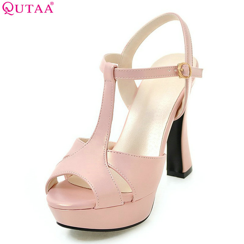 QUTAA 2018 Women Pumps Flock Fashion Buckle Square High Heel Wedding Shoes Plarform Casual Peep Toe Ladies Pumps Size 34-43 цена и фото