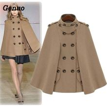 Genuo Buckle Cloak Poncho Women Coat New Fashion European Woolen Overcoat Female Autumn Loose Cape Ladies Warm Outwear