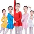 De manga comprida Spandex Roupas de Ginástica Collant para Meninas Vestido de Ballet Crianças Desgaste da Dança Dança Collant de Balé para Crianças