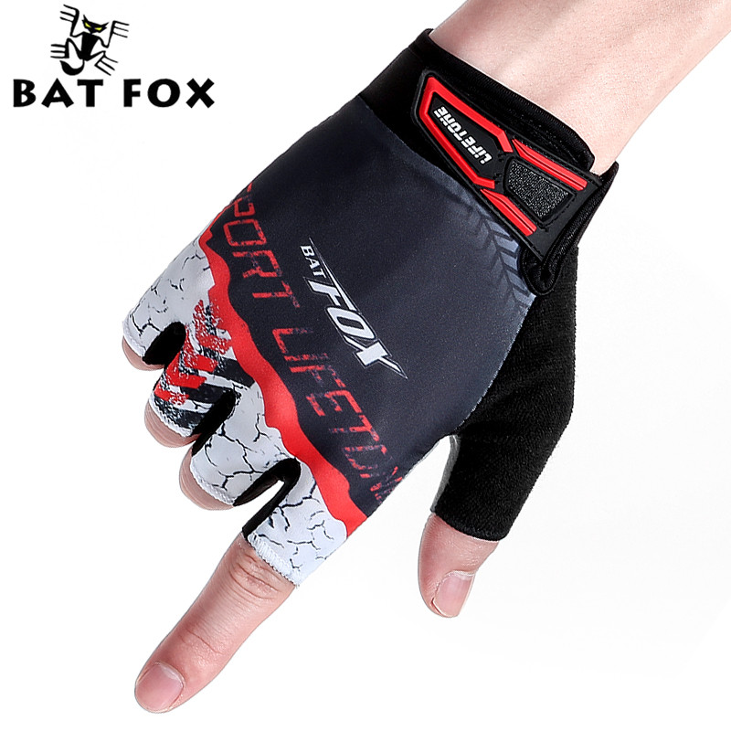 BATFOX Men's Cycling Gloves Half Finger Bike Fingerless Sport Fitness Gloves Guantes Ciclismo MTB Bike Cycling Bicycle Gloves цена 2017