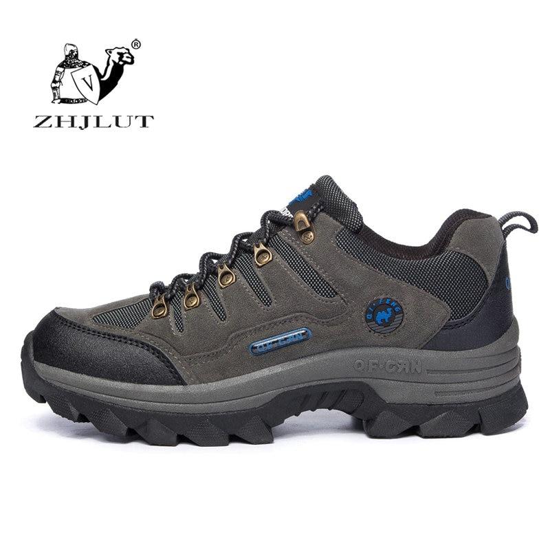 ZHJLUT Women Hiking Shoes Outdoor Climbing Boots Suede Leather Mountain Sport Shoe Men Trekking Tourism Shoes