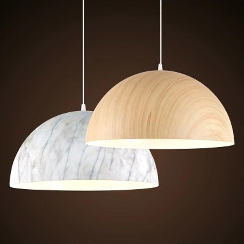 Moderen kratek aluminij iz lesa in marmorja, obesek Luč Unikatna - Notranja razsvetljava - Fotografija 5