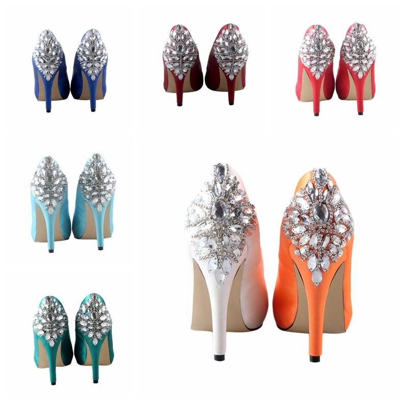CHS485 DHL Express hecho a medida punta abierta cristal naranja seda satén boda zapatos mujeres tacones altos zapato-in Zapatos de tacón de mujer from zapatos    2