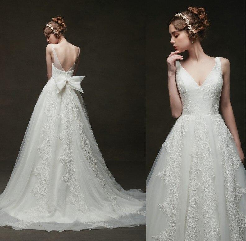 Vintage Lace Wedding Dresses with Bow 2019 Vestido De Noiva Royal Boho Wedding Dress Simple Bridal Gowns Elegant Robe De Mariage
