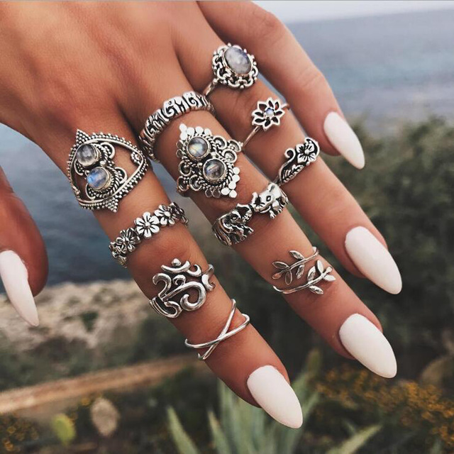 HuaTang Bohemian Antique Silver Ring Geometric Elephant Flower Green Rhinestone Knuckle Rings Midi Finger Anel Rings Jewelry 82
