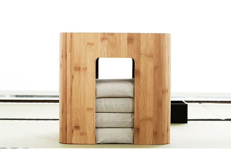 Bamboo Stool Muti Function Tea Table With 4 Cushion Coffee Table Tatami Changing Stool L ...
