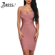INDRESSME 2018 Women's Bandage Dress Spaghetti Strap V Neck Criss Cross Mini Sexy Club Dress Sleeveless Summer Lady Fashion